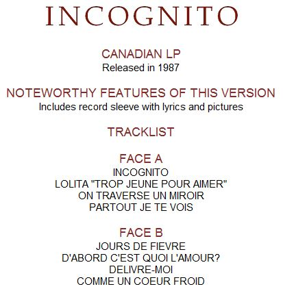 Incognito long play vinyl releases celine dion the for Miroir lyrics