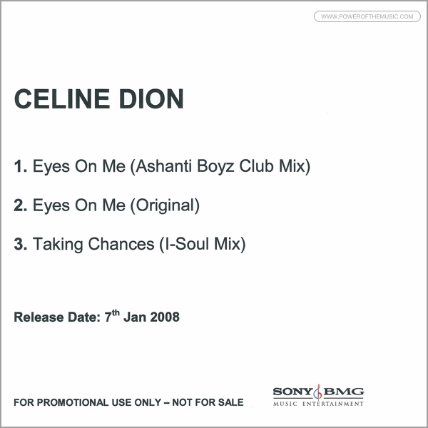 Eyes On Me: Single- Celine Dion: The Power of The Music